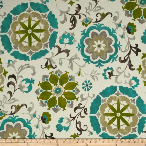 "Two  96"" x 50""  Custom Curtain Panels - Inddoor/Outdoor - Suzani Floral - Khaki/Teal/Grey/Olive"