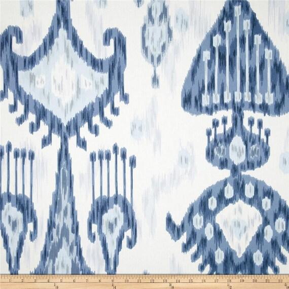 "Two 96"" x 50""  Custom  Curtain Panels  - Robert Allen - Indigo Ikat"