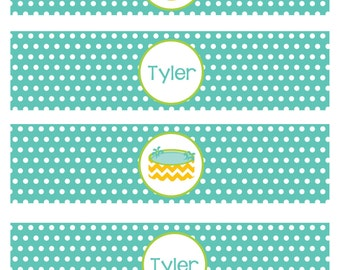 Pool Party Boys Printable Water Bottle Labels