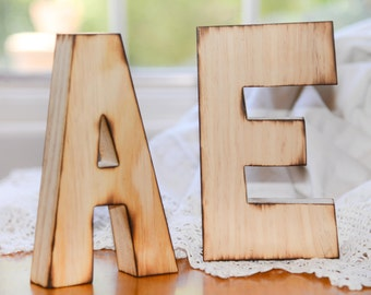Rustic distressed Large wood letters for wedding bride and groom set of 2 letters