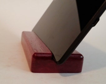 Mini iPad tablet stand, purpleheart wood with gloss finish tech gift