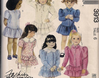1988 Sewing Pattern McCall's 3913 children's dress size 6