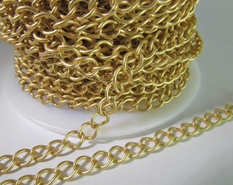 2 Ft Matte Gold Plated 5mm Brass Curb Link Chain Ch219