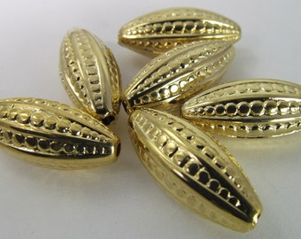 6 Vintage 24mm Gold Carved Acrylic Tube Beads Bd1417