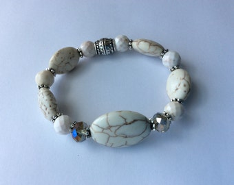White MagnesiteTurquoise Stretch Bracelet