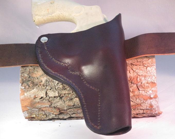 holster . leather hand gun holster. custom  made leather holster,western wear, .38 caliber holster, Smith Wesson holster. 124