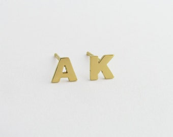 Initial Earrings - 14k Gold Letters - Solid Gold Earrings -  Personalized Jewelry - Hand Cut