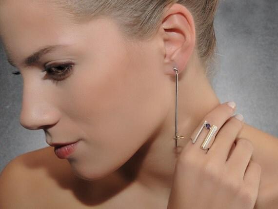 "Dangle Earrings ""Hula Hoop"", Handmade, Sterling Silver and 18K Gold"