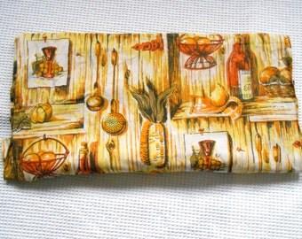 Fabric Yellow Orange Cottage Chic Bold Kitchen Print Vintage Retro