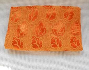 Fabric Leaf Print Pretty Shine Finish vintage Orange