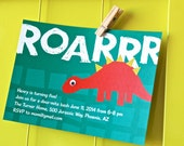 Dinosaur Birthday Party Invitations - Personalized, Printable Dino Party Invites - INSTANT DOWNLOAD