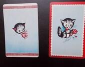 3 vintage playing card samples kittens