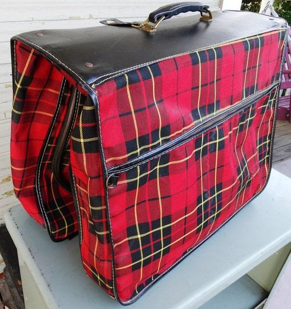 Vintage Gingham Plaid Hanging Garment Bag By Andysatticvintage