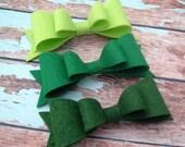 Felt Hair Bow - Lime Green Hair Bow - Kelly Green Hair Bow - Neon - Wool Felt - Hair Clip - Hair Barrette - French Clip - Girls - Women-Teen