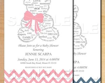 Teddy Bear Baby Shower Invitation Digital File - Boy or Girl