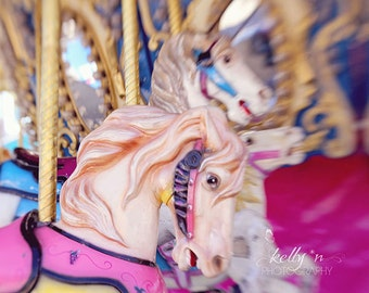 Carousel Photography- Pink Carousel Horse Photo, Merry Go Round Print, Nursery Decor, Kids Room Decor, Fair Photography, Pink Gold Decor,
