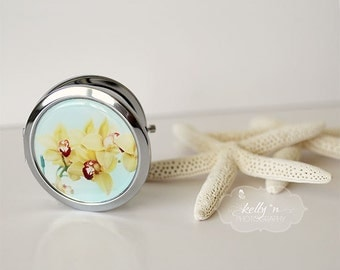 "Photo Mirror Compact- ""Yellow Orchids"", Flower Photo Compact Yellow Orchids Photograph, 3"" Double Sided Compact Mirror, Engravable Gift Item"