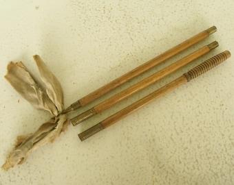 Gun Cleaning Rod 3 Piece Wood and Brass for Shotgun Vintage