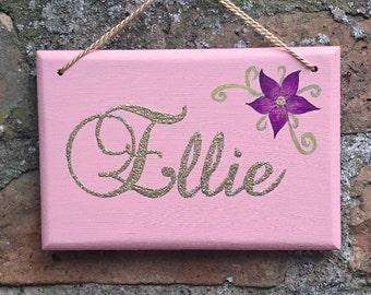 Personalised Wooden Hanging Sign Name Plate Plaque Glitter Girls Hand Painted Pink Gold Princess Gift