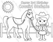 Personalized Printable Cowgirl Horse Birthday Party Favor childrens kids coloring page book activity PDF or JPEG file