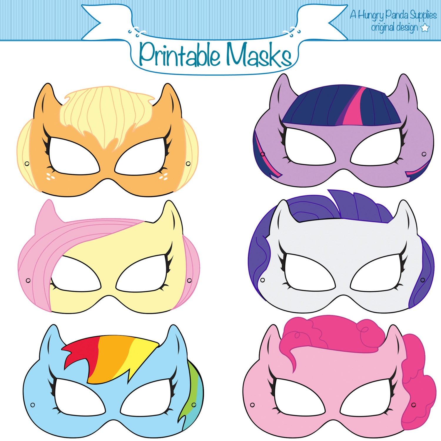 Pony Printable Masks Mask Horse By HungryPandaSupplies