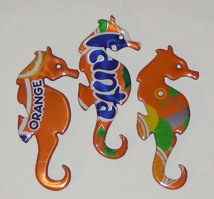 3 Seahorse Magnets Orange Blue FANTA Cola Soda Can