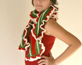 Christmas Ruffled Scarf in Red Green and Ivory - Long Scarflette - Winter Holiday Accessories - Gift For Her