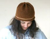 Brown Knit Beanie - Gray Hat - Christmas Gift - Fall Winter Fashion - Women Teens Accessories - Beret