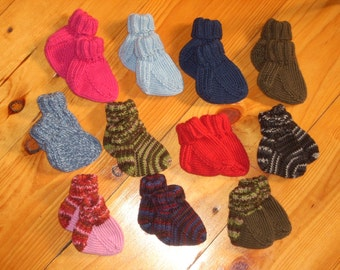 "Wool Baby Socks 3 1/2"" Foot - Your Choice"