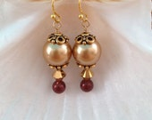 GARNET and GOLD Swarovski Crystal Pearl Earrings - Seminoles - Noles - Any Size - Made in USA