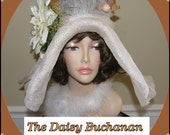 Gatsby Style HUGE Hat Ivory Beige Peach Hat Adjustable One Size Big Flower Feather Plume