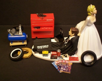 AUTO MECHANIC Bride and Groom Wedding Cake Topper Tools Funny 1A