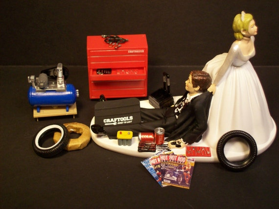 Auto Mechanic Bride And Groom Wedding Cake Topper Tools Funny