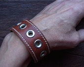 Vintage Upcycled Leather Bracelet Cuff with Nickel Grommets