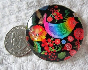 Colorful glass bird 40mm cabochon
