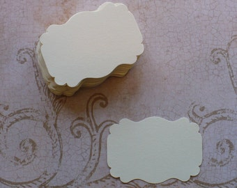 50 Cream Label Punchies - Shapes - Die Cut pieces Cardstock Great for Stamping Crafts Tags Weddings Cards Labels