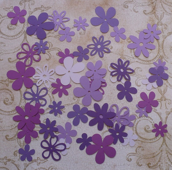 Assorted Cricut Die Cut Flowers / Blooms over 50 pieces Embellishments Made from Purples cardstock