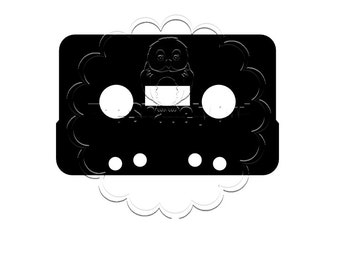 Cassette Tape Silhouette Die Cut for Scrapbooking or Cardmaking