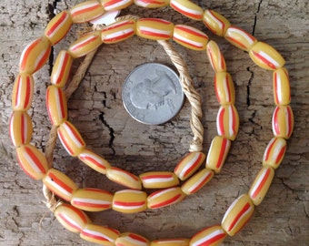Antique Glass Trade Beads African Venetian Watermelon beads Yellow with Stripes