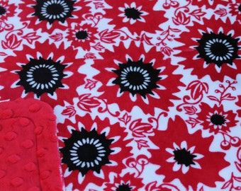 Minky Blanket Red and Black Floral Print Minky with Red Dimple Dot Minky Backing Perfect Size Blanket, Stroller Blanket