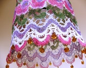Hand Painted  Lacy Flowerey  lamp shade - Delicate hanging ceiling lighting