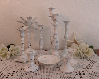 White Wedding Candleholders Vintage Chippy Distressed Shabby Chic Rustic Paris French Country Farmhouse Beach Cottage Spring Summer
