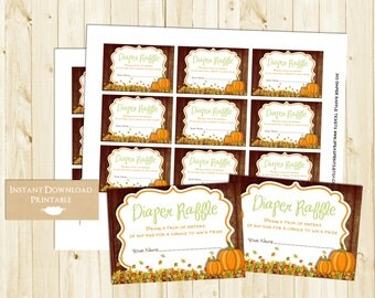 Diaper Raffle Tickets for Baby Shower - Printable INSTANT DOWNLOAD - Fall Baby Shower Game - Diaper Raffle Card