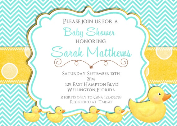 Rubber Ducky Baby Shower Invitation Teal and Yellow Chevron Dots Printable Invite