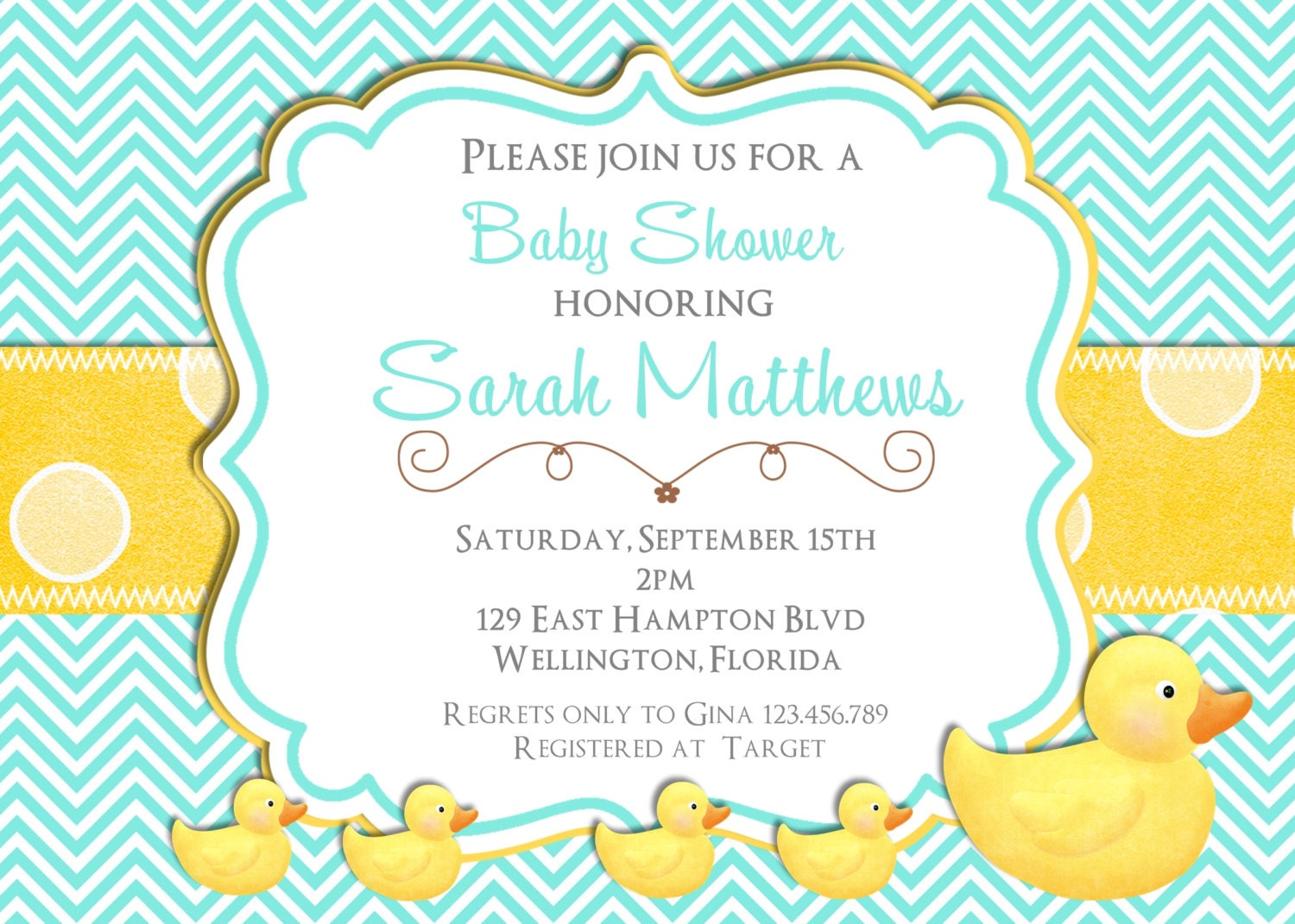 Rubber Ducky Baby Shower Invitation Teal and Yellow Chevron