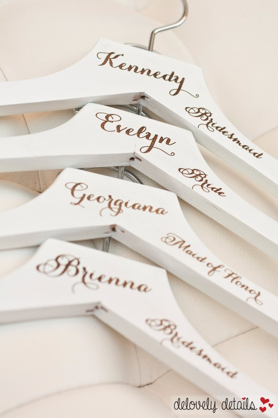1 Personalized White Wedding Dress Hanger With By