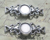 8mm small brass bracelets with ornate edges, Sterling Silver ox finish, TWO