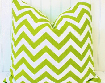 Green Pillow-Decorative Throw Pillow-Green and White Chevron Zig Zag- Green Cushion Cover