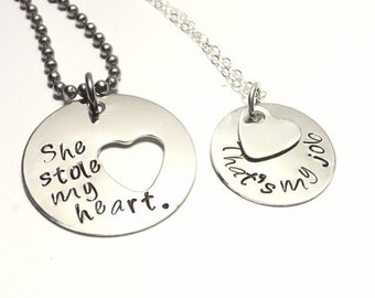 Hand Stamped Sterling Silver His and Her Necklace Set- She Stole My Heart, That's My Job, Humorous Jewelry, Military Couple, Deployment