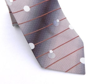 Roper Vintage Mens Silk Necktie, Brown, Tan, Cream, and Bronze